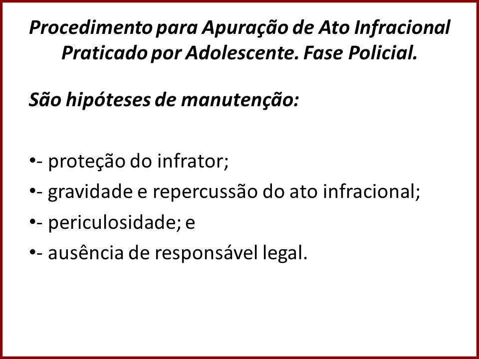 Procedimento para Apuração de Ato Infracional Praticado por Adolescente. Fase Policial.