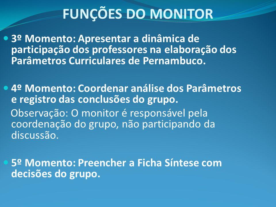 FUNÇÕES DO MONITOR 3º Momento: Apresentar a dinâmica de participação dos professores na elaboração dos Parâmetros Curriculares de Pernambuco.