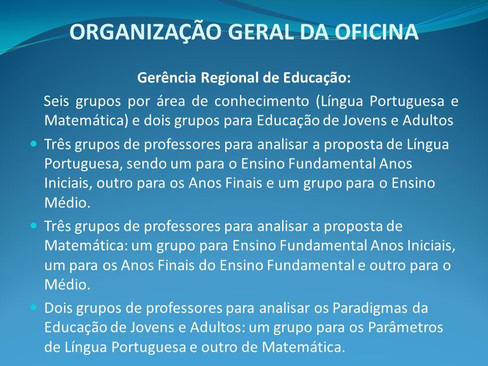 ORGANIZAÇÃO GERAL DA OFICINA