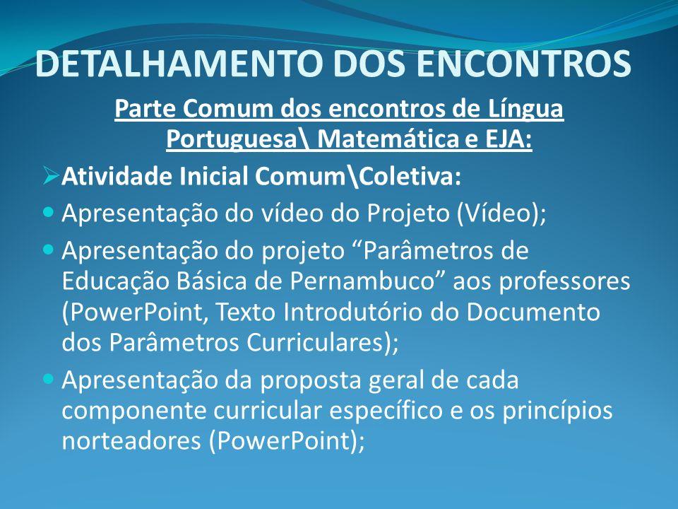 DETALHAMENTO DOS ENCONTROS