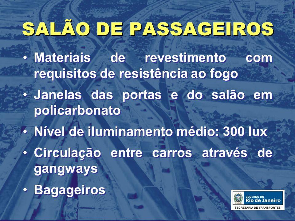 SALÃO DE PASSAGEIROS Materiais de revestimento com requisitos de resistência ao fogo. Janelas das portas e do salão em policarbonato.