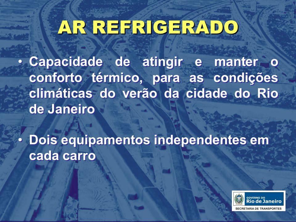 AR REFRIGERADO Capacidade de atingir e manter o conforto térmico, para as condições climáticas do verão da cidade do Rio de Janeiro.