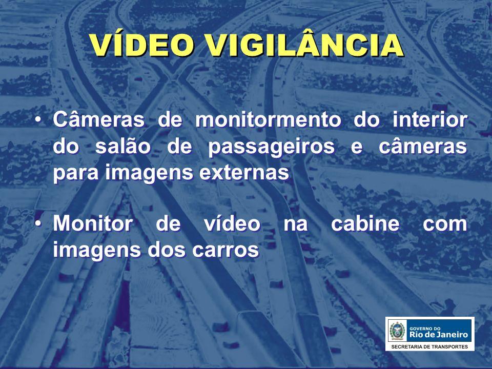 VÍDEO VIGILÂNCIA Câmeras de monitormento do interior do salão de passageiros e câmeras para imagens externas.
