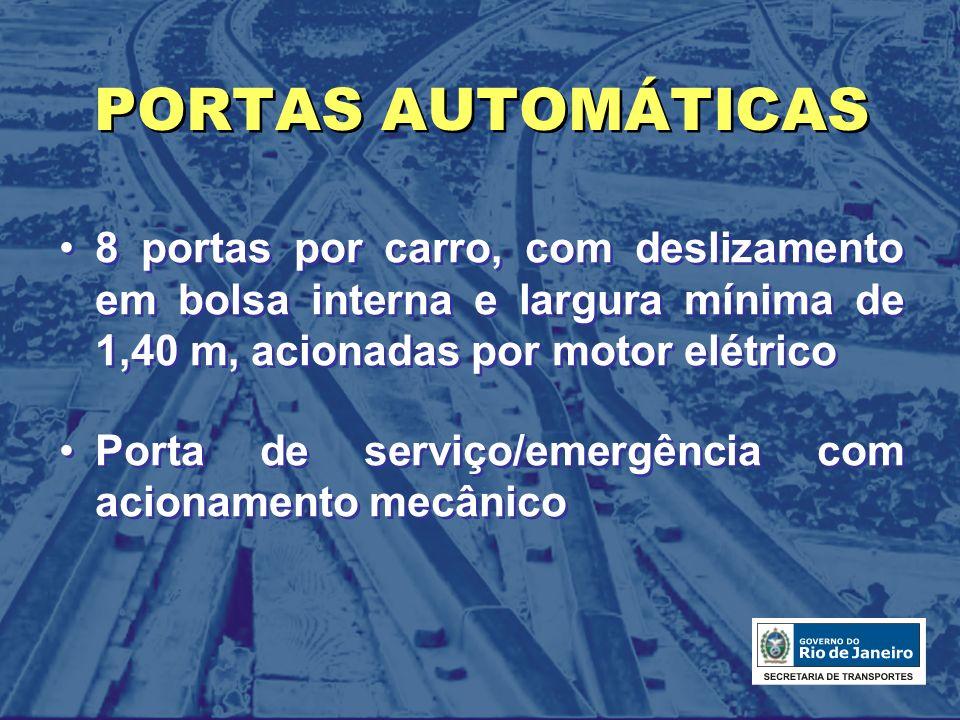 PORTAS AUTOMÁTICAS 8 portas por carro, com deslizamento em bolsa interna e largura mínima de 1,40 m, acionadas por motor elétrico.