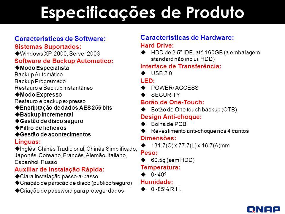 Especificações de Produto
