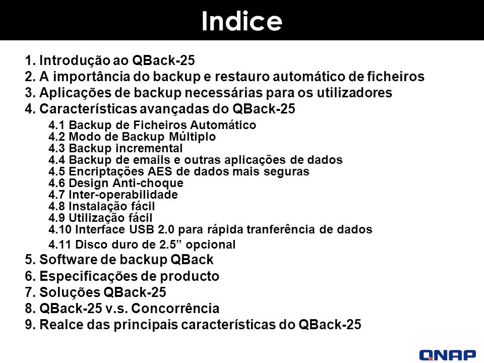 Indice 1. Introdução ao QBack-25