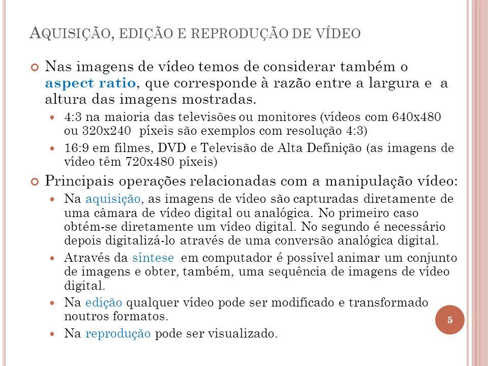 Aquisição, edição e reprodução de vídeo