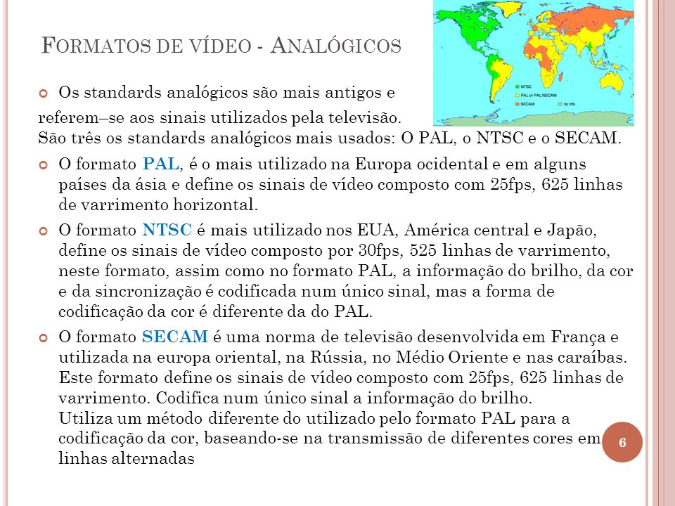 Formatos de vídeo - Analógicos