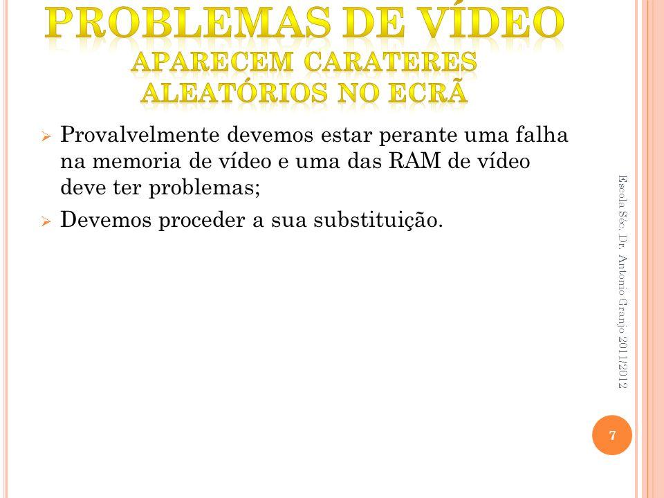 Problemas de vídeo aparecem carateres aleatórios no ecrã