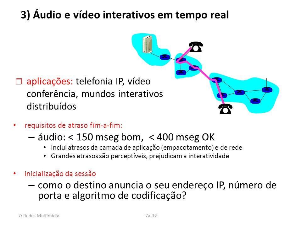 3) Áudio e vídeo interativos em tempo real