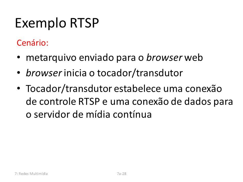 Exemplo RTSP metarquivo enviado para o browser web