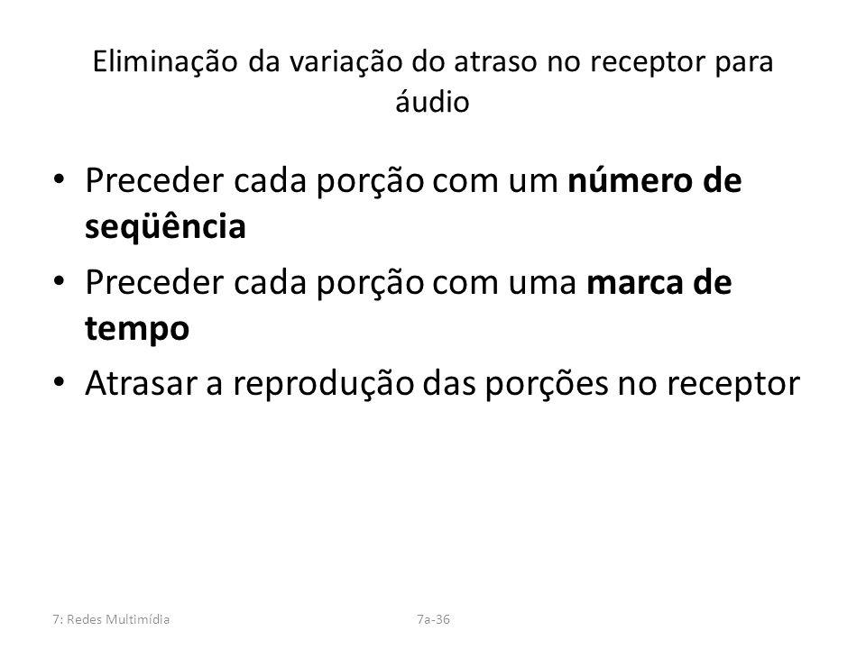 Eliminação da variação do atraso no receptor para áudio