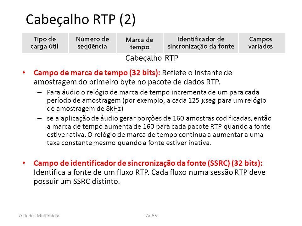 Cabeçalho RTP (2) Cabeçalho RTP. Campo de marca de tempo (32 bits): Reflete o instante de amostragem do primeiro byte no pacote de dados RTP.