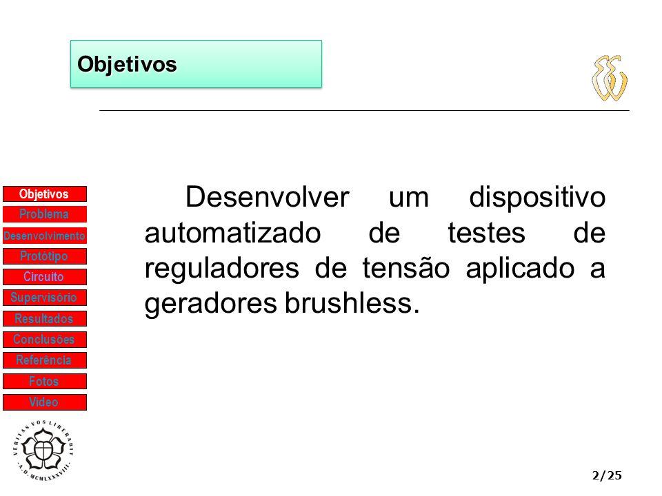 Objetivos Desenvolver um dispositivo automatizado de testes de reguladores de tensão aplicado a geradores brushless.