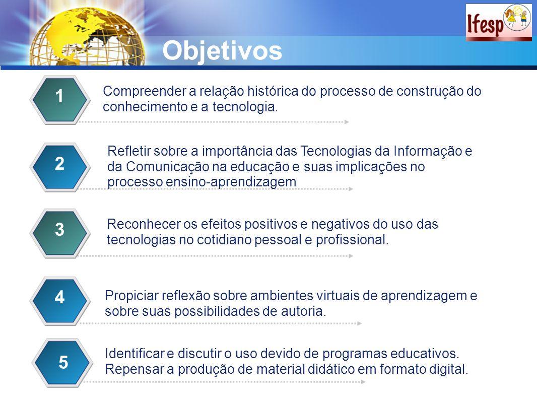 Objetivos 1. Compreender a relação histórica do processo de construção do conhecimento e a tecnologia.