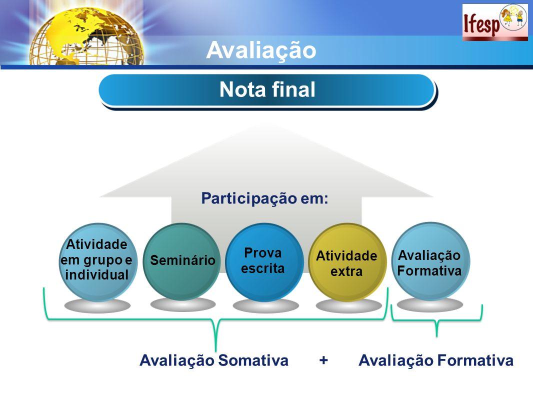 Avaliação Nota final Participação em: Avaliação Somativa +