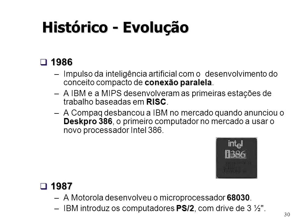 Histórico - Evolução 1986. Impulso da inteligência artificial com o desenvolvimento do conceito compacto de conexão paralela.