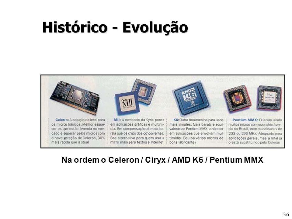 Histórico - Evolução Na ordem o Celeron / Ciryx / AMD K6 / Pentium MMX