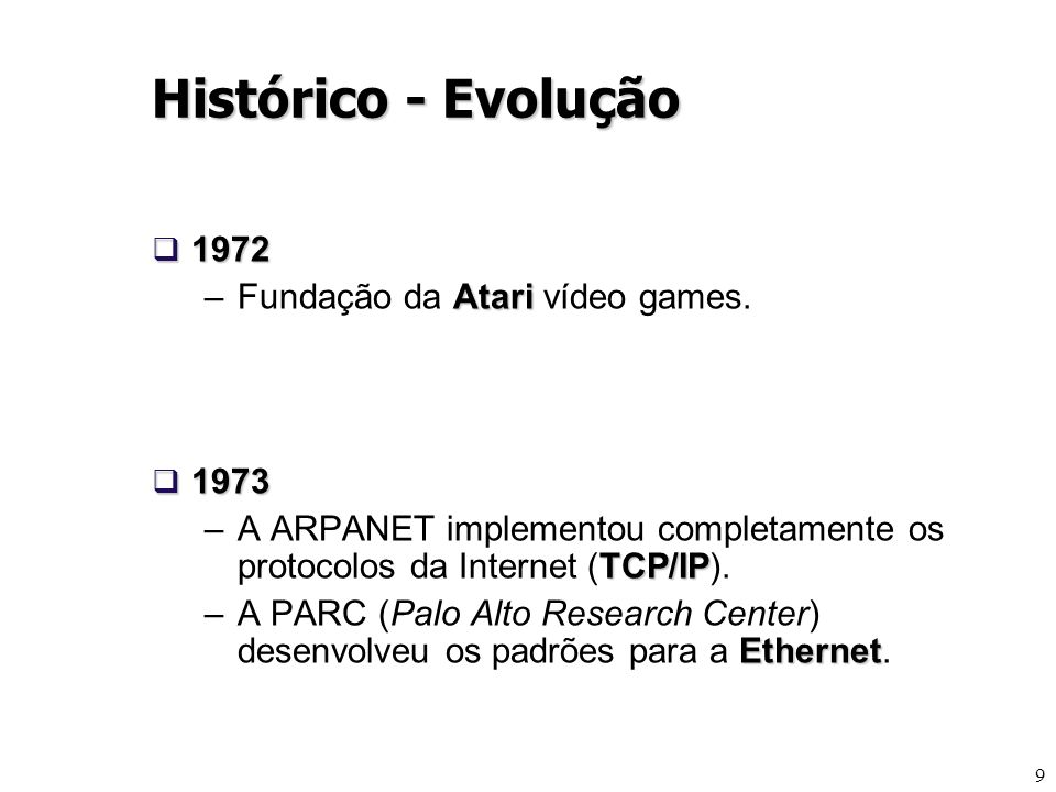 Histórico - Evolução 1972 Fundação da Atari vídeo games. 1973