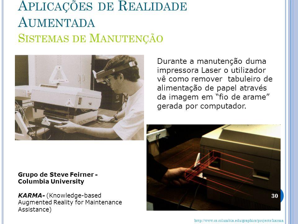 Aplicações de Realidade Aumentada Sistemas de Manutenção