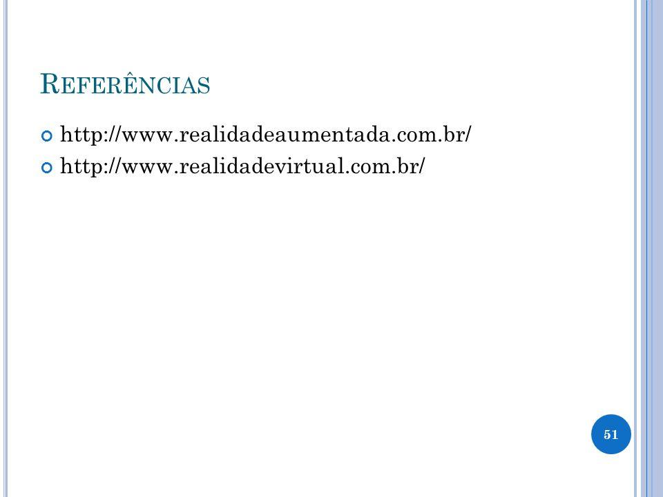 Referências http://www.realidadeaumentada.com.br/