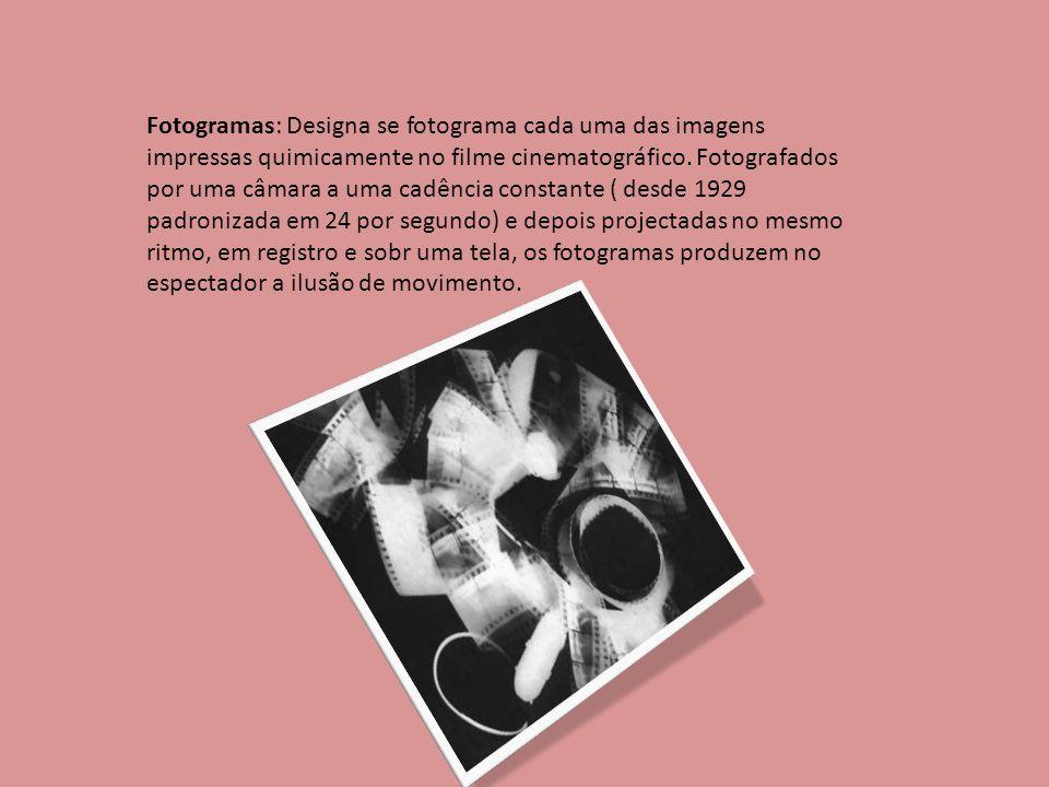 Fotogramas: Designa se fotograma cada uma das imagens impressas quimicamente no filme cinematográfico.