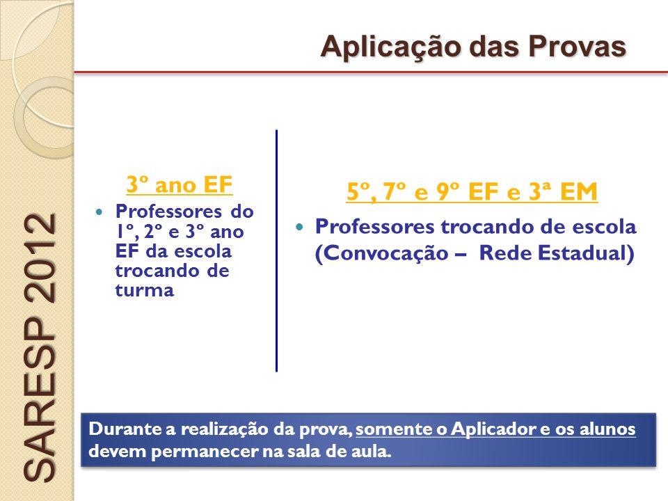 SARESP 2012 Aplicação das Provas 5º, 7º e 9º EF e 3ª EM 3º ano EF