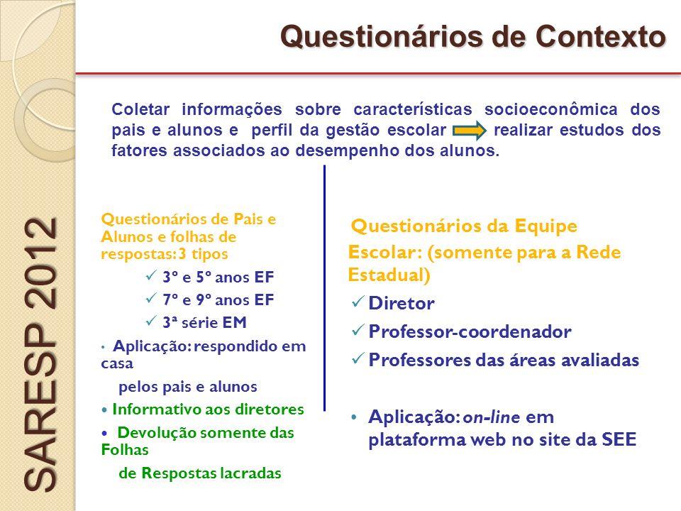 SARESP 2012 Questionários de Contexto