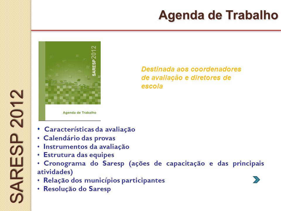 SARESP 2012 Agenda de Trabalho Características da avaliação