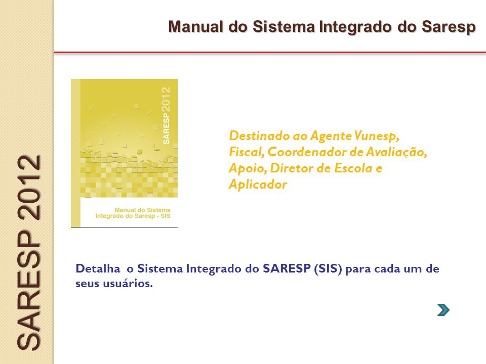 SARESP 2012 Manual do Sistema Integrado do Saresp