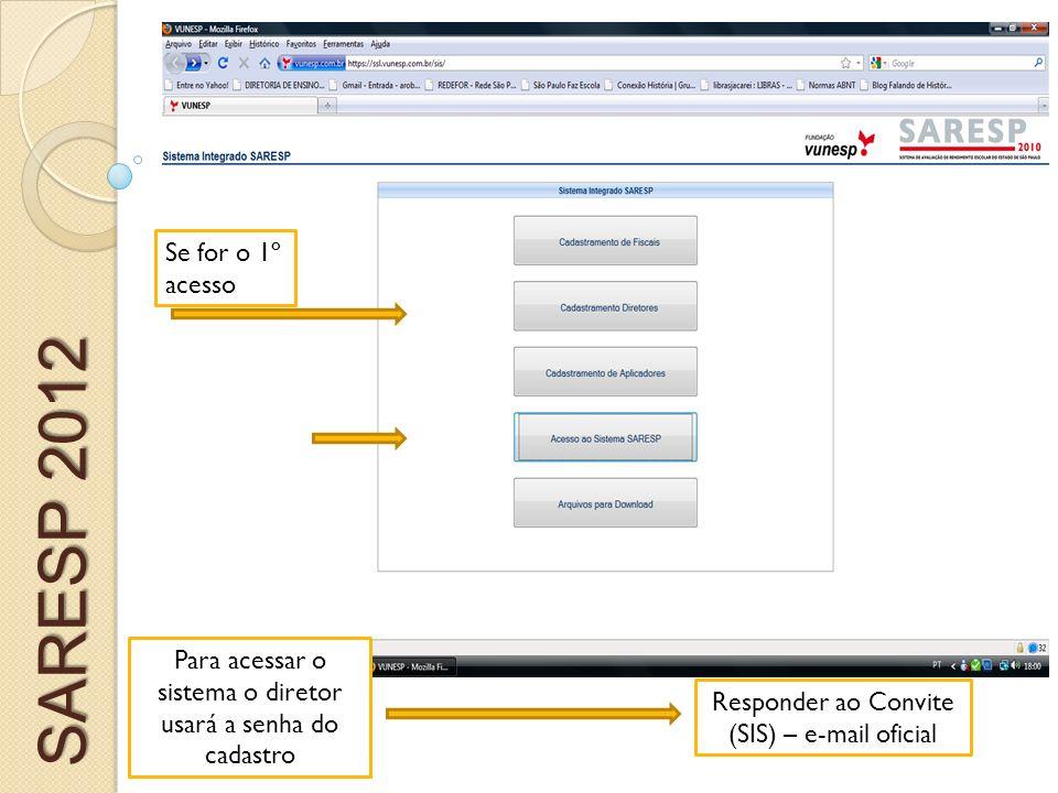 Se for o 1º acesso SARESP 2012. Para acessar o sistema o diretor usará a senha do cadastro.