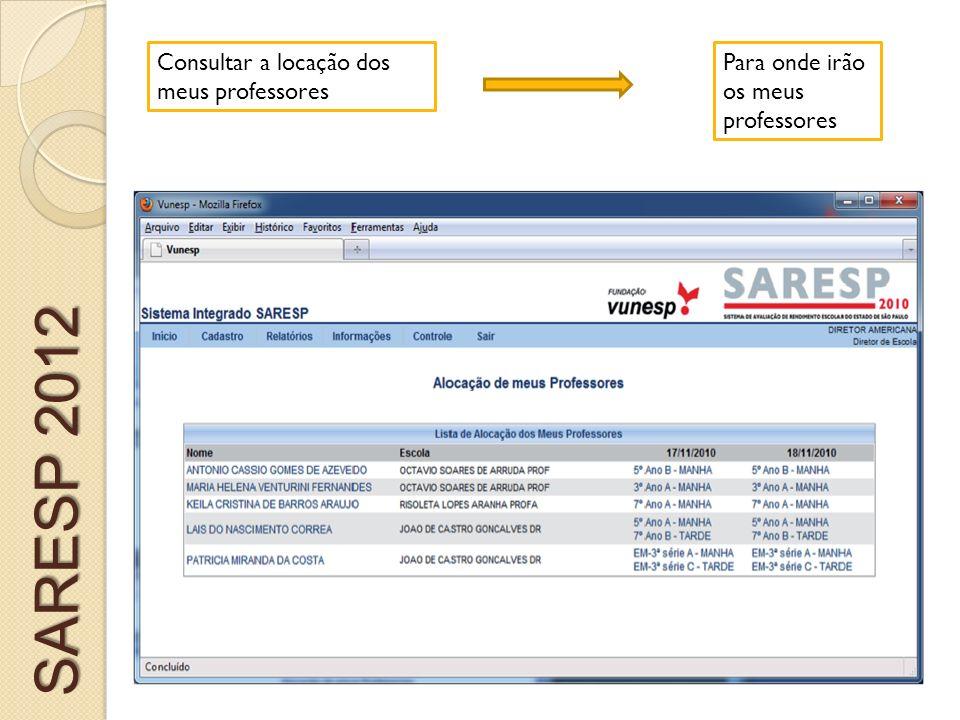 SARESP 2012 Consultar a locação dos meus professores