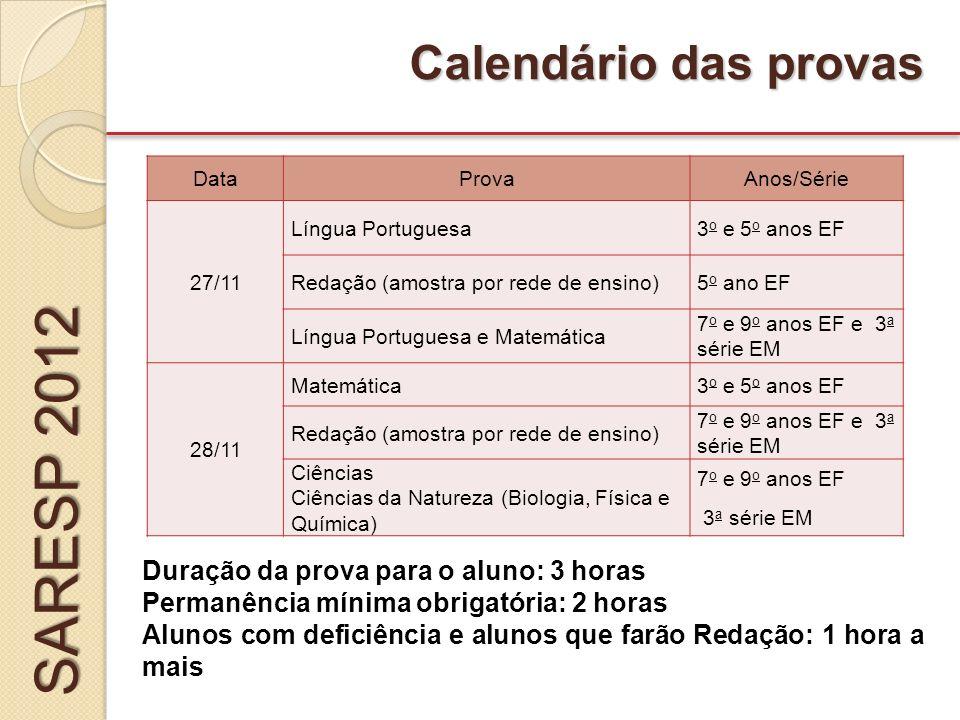 SARESP 2012 Calendário das provas