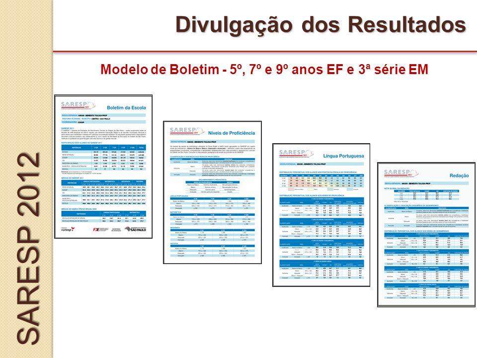 Modelo de Boletim - 5º, 7º e 9º anos EF e 3ª série EM