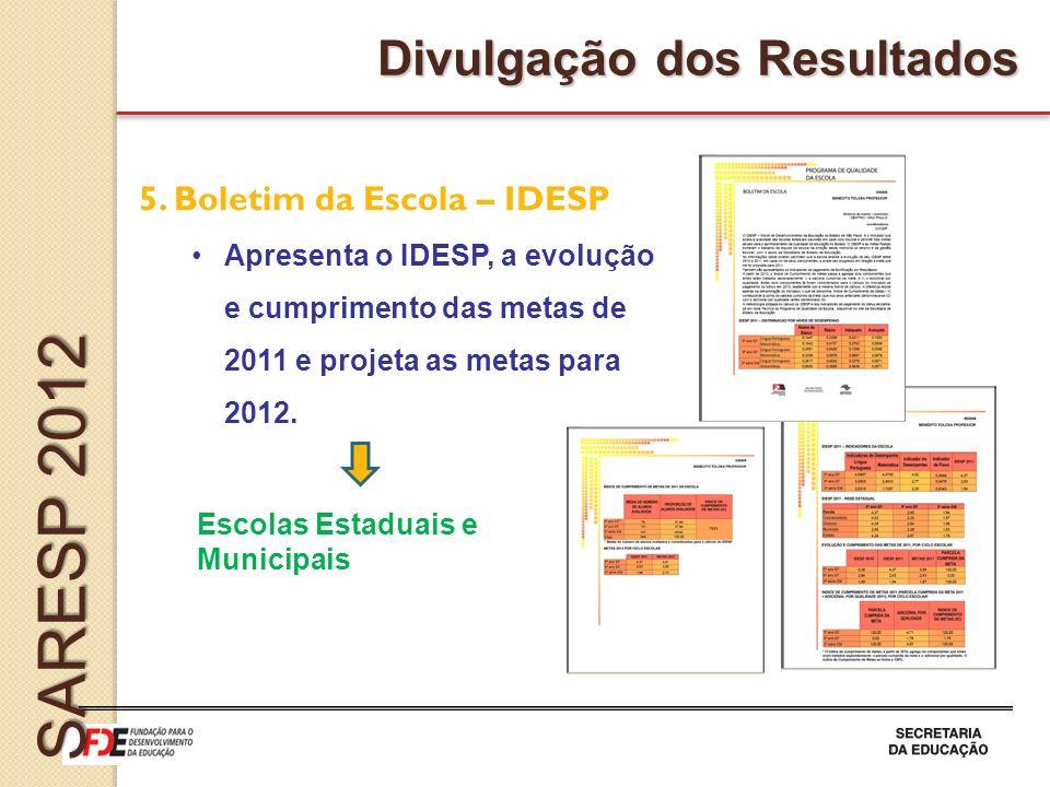 SARESP 2012 Divulgação dos Resultados 5. Boletim da Escola – IDESP