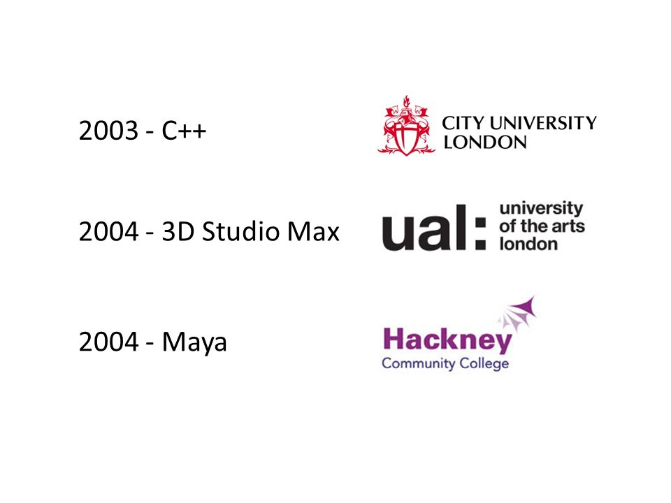 2003 - C++ 2004 - 3D Studio Max 2004 - Maya