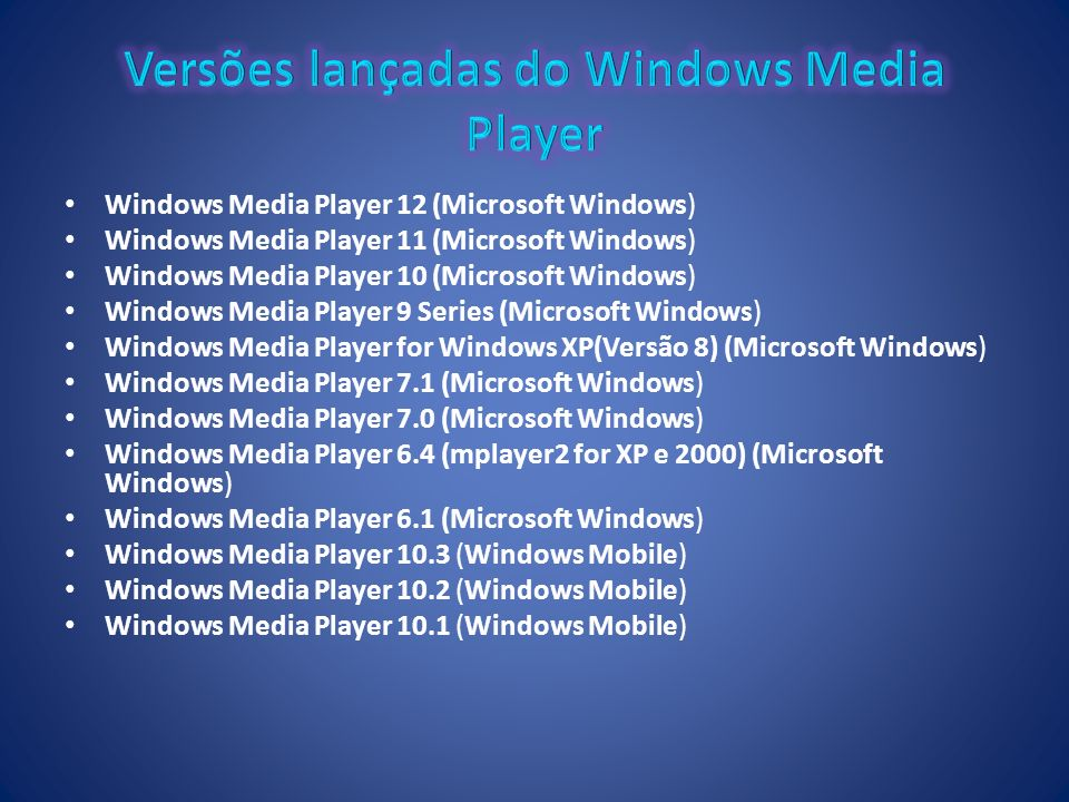 Versões lançadas do Windows Media Player