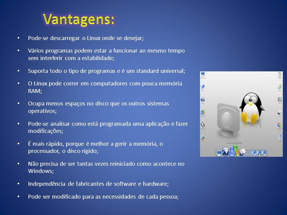 Vantagens: Pode-se descarregar o Linux onde se desejar;