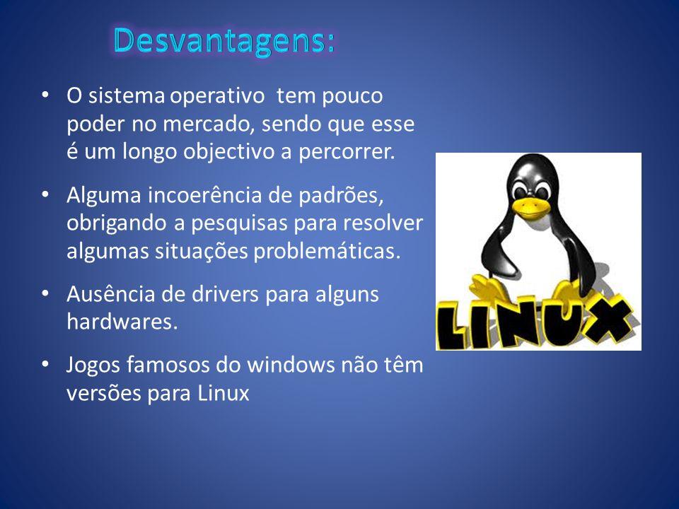 Desvantagens: O sistema operativo tem pouco poder no mercado, sendo que esse é um longo objectivo a percorrer.