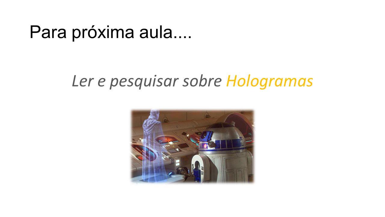Ler e pesquisar sobre Hologramas
