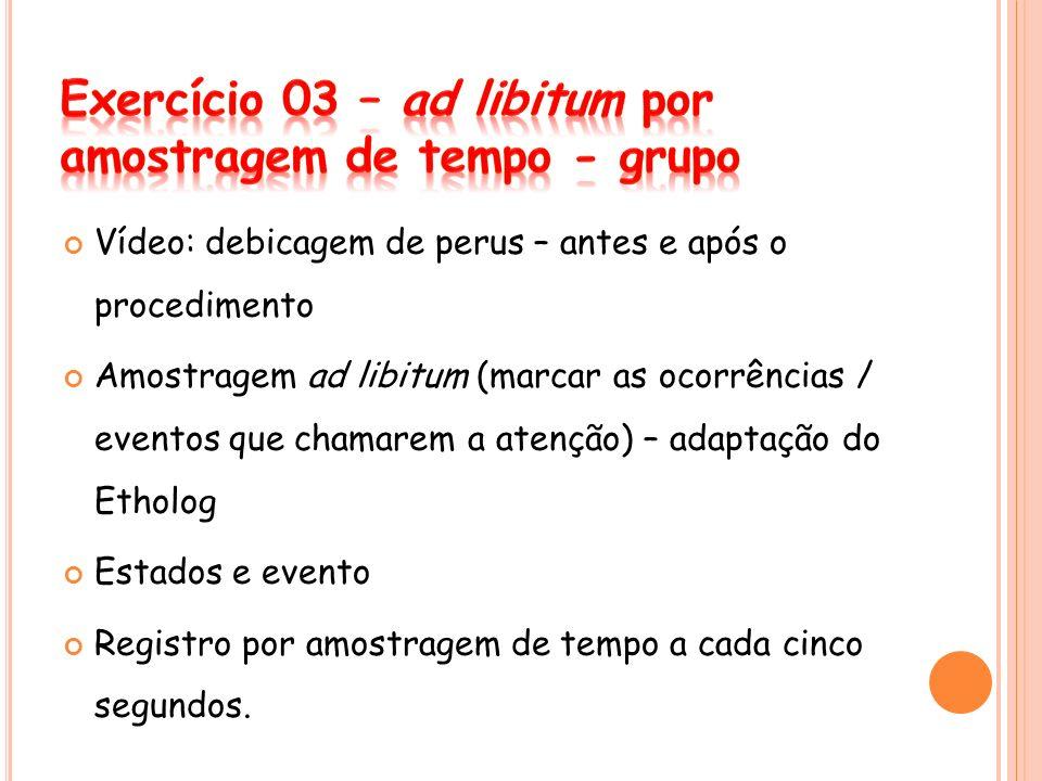 Exercício 03 – ad libitum por amostragem de tempo - grupo