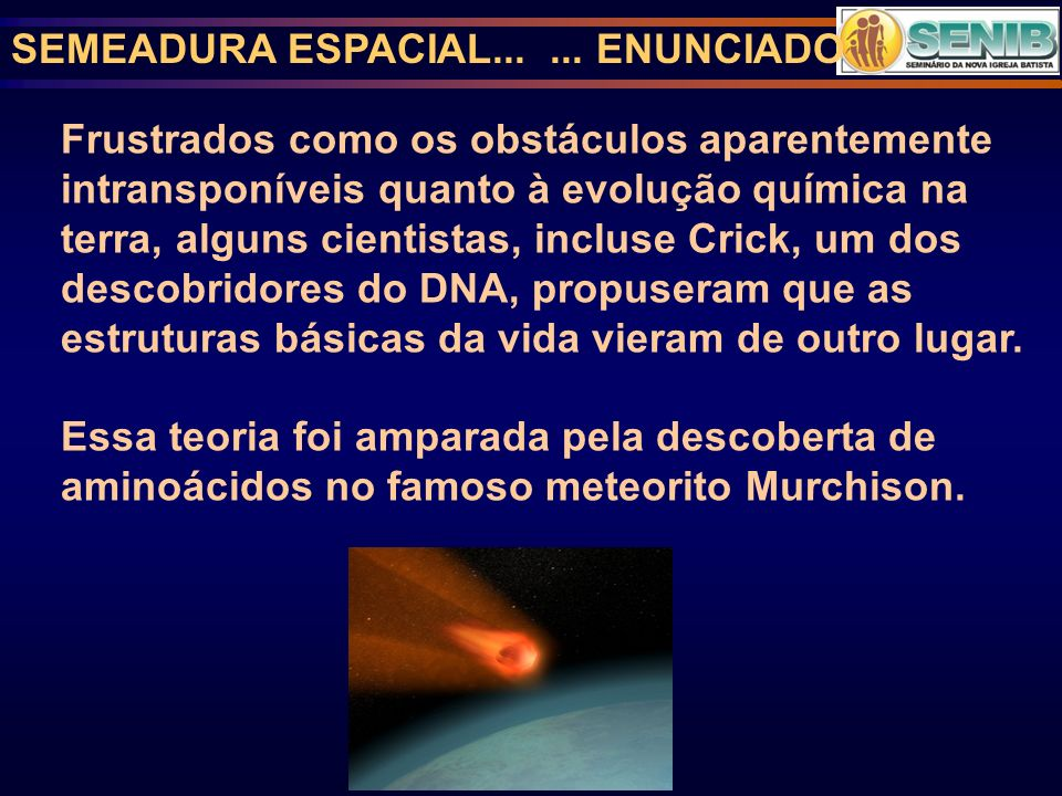 SEMEADURA ESPACIAL... ... ENUNCIADO