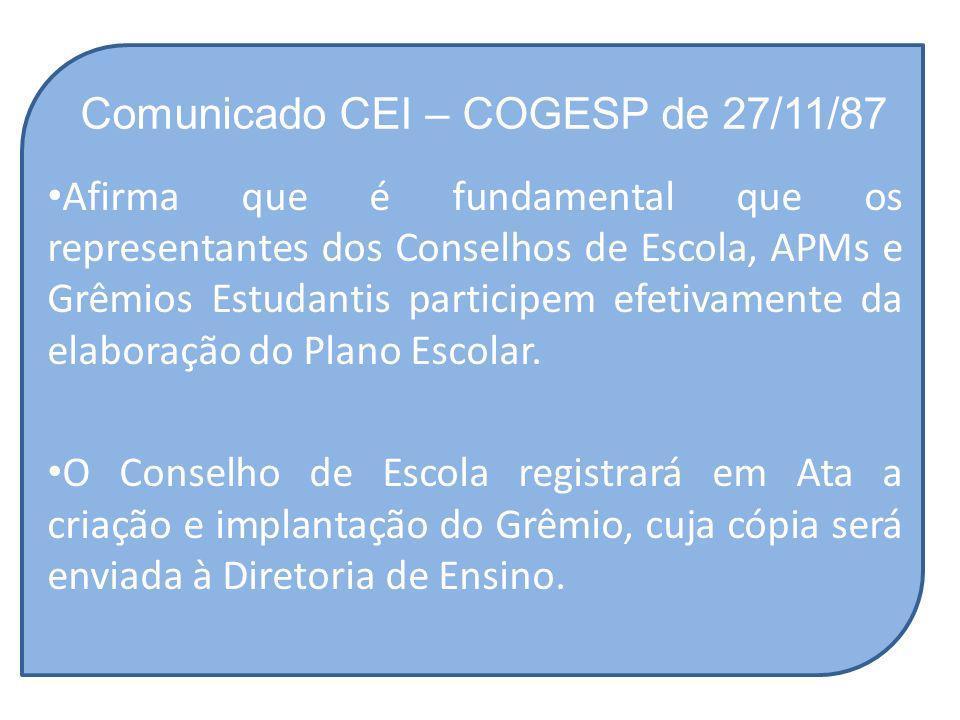 Comunicado CEI – COGESP de 27/11/87