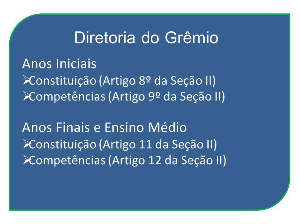 Diretoria do Grêmio Anos Iniciais Anos Finais e Ensino Médio