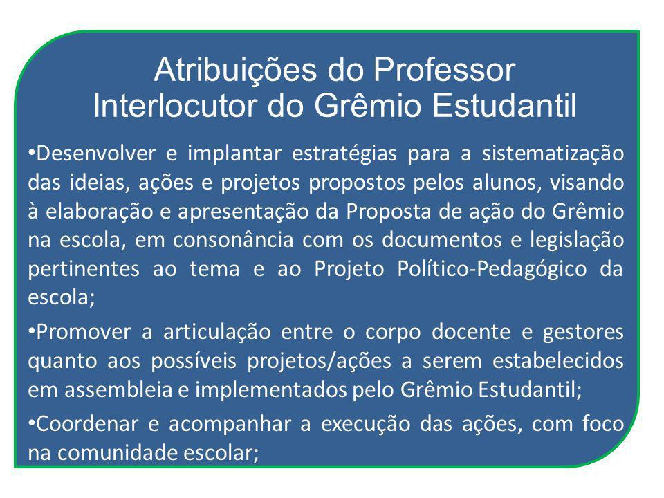 Atribuições do Professor Interlocutor do Grêmio Estudantil