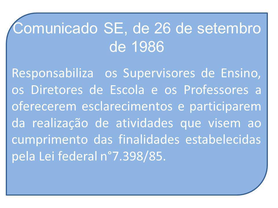 Comunicado SE, de 26 de setembro de 1986