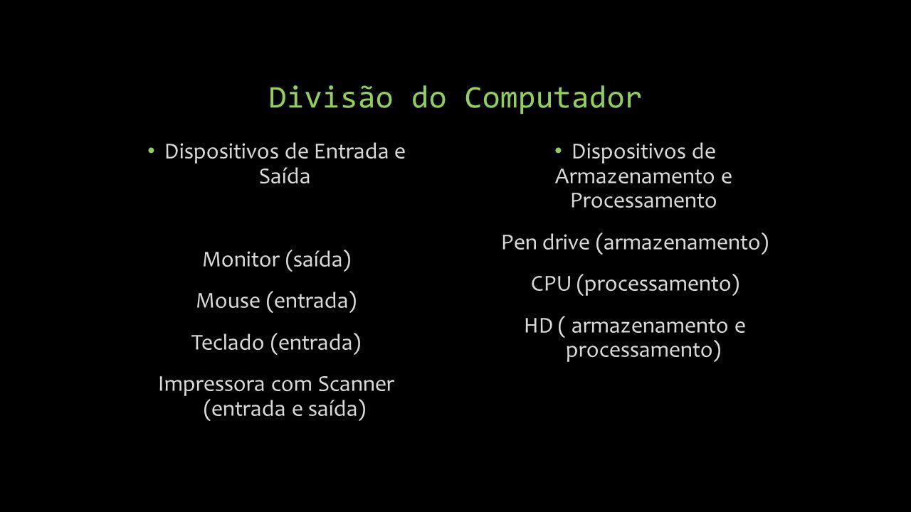 Divisão do Computador Dispositivos de Entrada e Saída Monitor (saída)