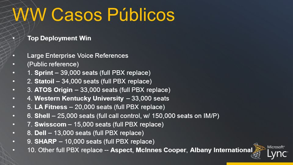 WW Casos Públicos Top Deployment Win Large Enterprise Voice References