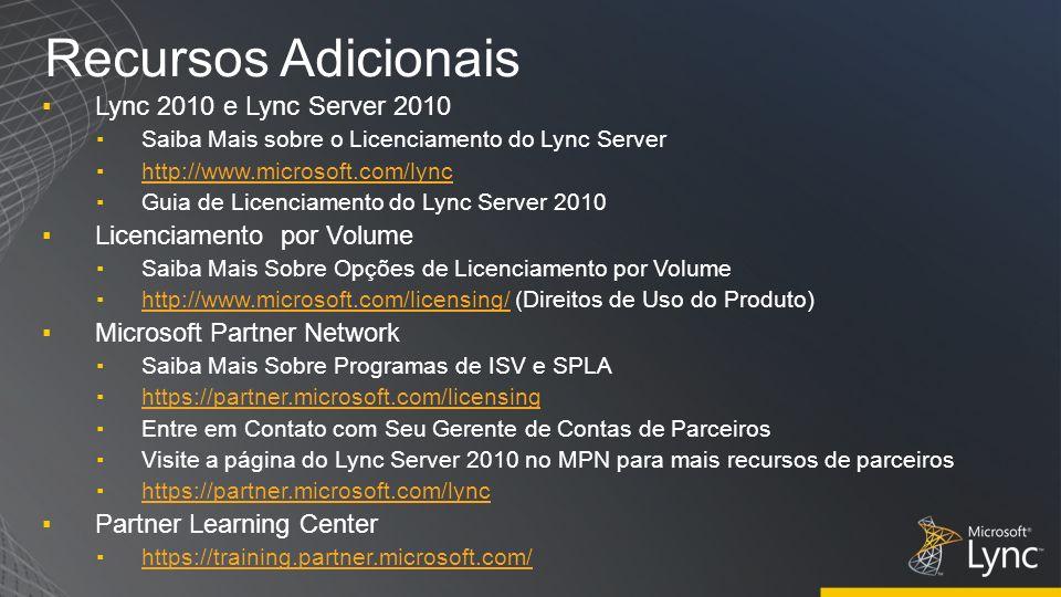 Recursos Adicionais Lync 2010 e Lync Server 2010