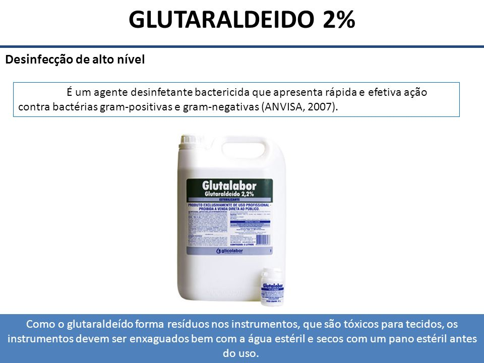 GLUTARALDEIDO 2% Desinfecção de alto nível